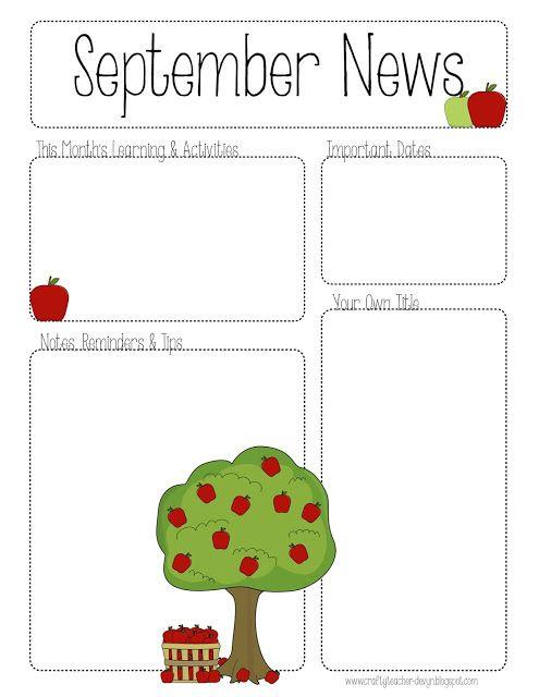 September Printable Newsletter -- ALL GRADES! | The Crafty Teacher