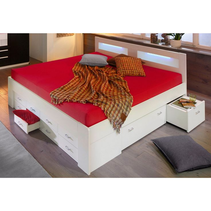 Lit 1-2 personnes multi-rangements + sommier + matelas ressorts, 3 largeurs. Un lit ''gain de place'' avec un rangement maximal sous la surface de couchage et au pied du lit. Les tiroirs sur le côté peuvent aussi servir de table de chevet d'appoint ! Idéal pour faire place nette dans la chambre et ranger couettes, coussins, draps et couvertures…Chaque chose trouvera sa place ! La tête de lit peut être éclairée grâce à l'insert en plexiglas. (éclairage led non fourni.)