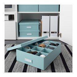 IKEA - TJENA, Scatola a scomparti, azzurro, , Ti permette di organizzare ogni cosa, dagli accessori da scrivania ai cosmetici e ai fermagli per i capelli.Il portaetichette incluso ti permette di indicare il contenuto, per trovare facilmente quello che cerchi.