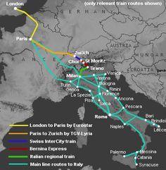 TREN* Milán a otros destinos. Route map.
