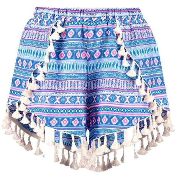 Lisa Tassel Trim Woven Aztec Runner Shorts ❤ liked on Polyvore featuring shorts, aztec shorts, aztec print shorts, tassel shorts and woven shorts