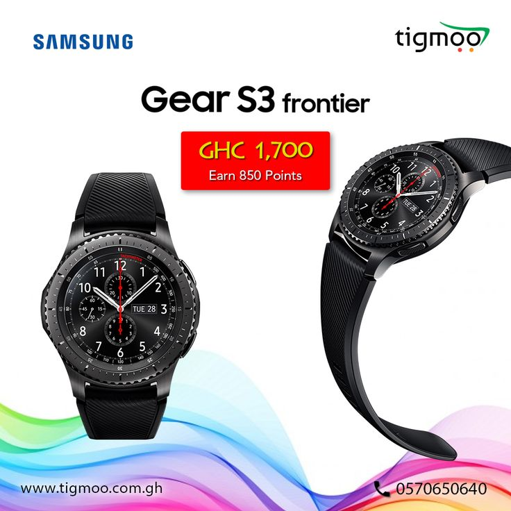 Buy #SamsungGear S3 Frontier #Smartwatch 46mm online at #tigmoo on the prices of GHC 1,700; Order now: https://www.tigmoo.com.gh/samsung-gear-s3-frontier-smartwatch-46mm.html You can also earn 850 Points on purchase this Item