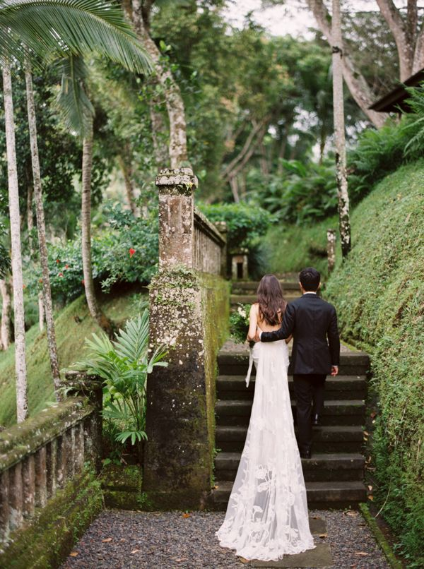 An absolutely incredible dress for a wedding in Bali. Look at that train!