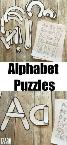 Preschool alphabet letter building templates and puzzles via @karyntripp