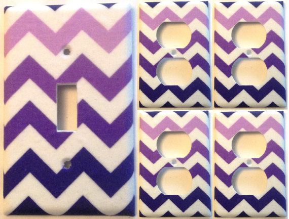 Purple White Chevron Light Switch Plate Set 1 4 Wall Home