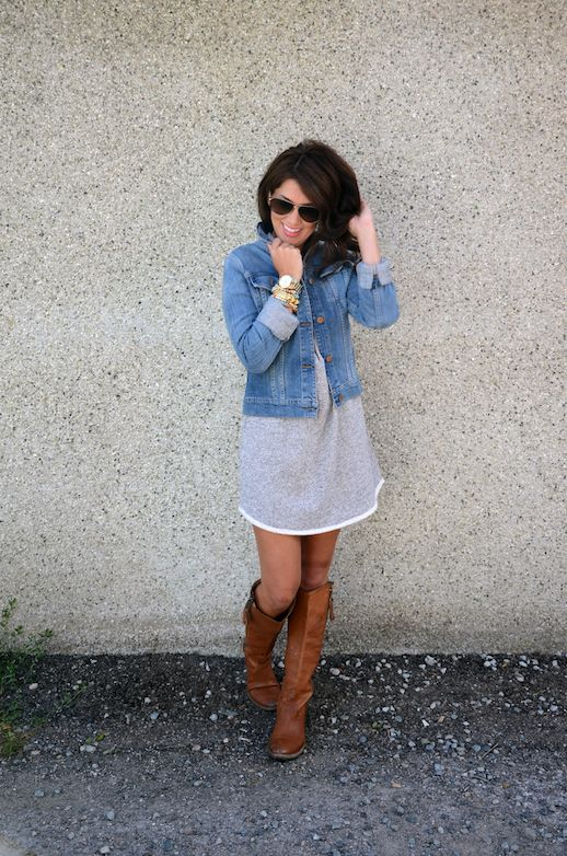 Jillian Harris - cute fall outfit! Cotton dress with jean jacket  boots - maybe add tights or leggings for cooler weather