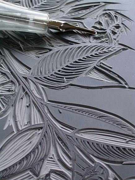 Lino cut fabric printing i have carving tools from