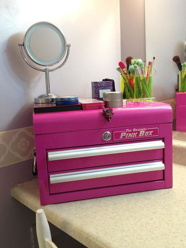 Pink Tool Box! My heart be still, this is actually an entire line of toolboxes catered to organizing makeup and hair products! This one is great for a personal makeup organizer you can throw on your vanity.