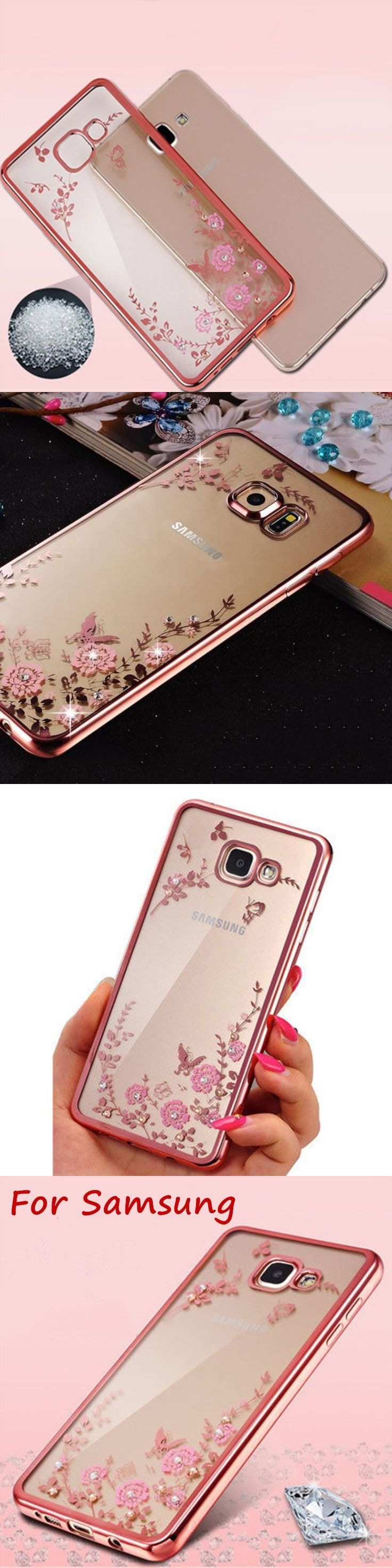 RHOADA Case for Samsung Galaxy A3 A5 A7 2016 J3 J5 J7 S5 S6 S7 S8 Edge NOTE 3 4 5 Chic Flower Bling Soft TPU Clear Back Cover
