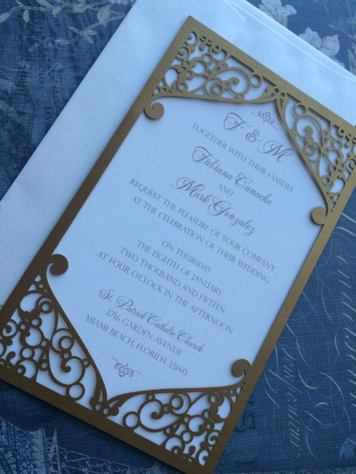 business event invitation templates%0A Die Cut Pattern Laser Cut Wedding Invitation Pocket Elegant Swirl Frame  Wedding Invitation