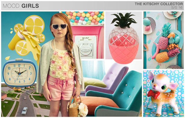 s/s girls trend theme, the kitschy collector, mood board