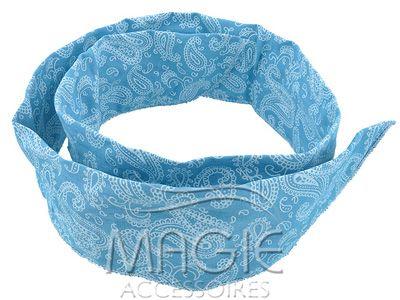 Голубая средняя повязка для волос. Синтетическая ткань.
