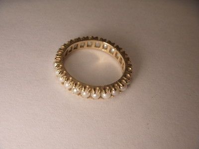 Gorgeous Victorian Estate 14K Yellow Gold Seed Pearl Eternity Wedding Band Ring | eBay