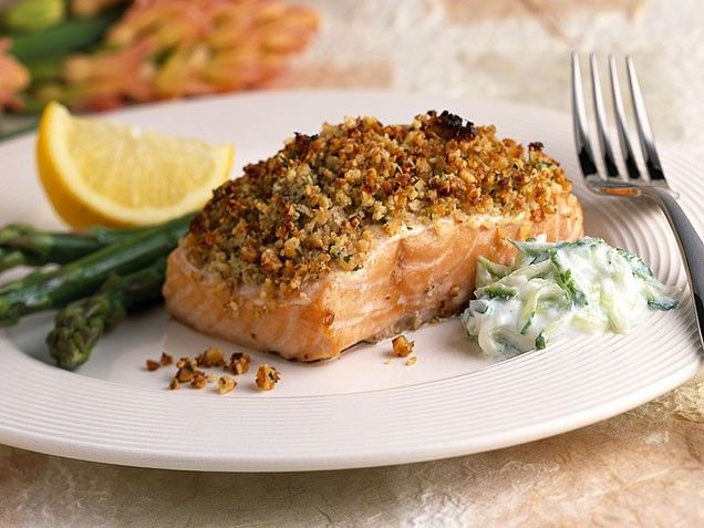 Baked Salmon with Roasted Pecan Crust | Recipe