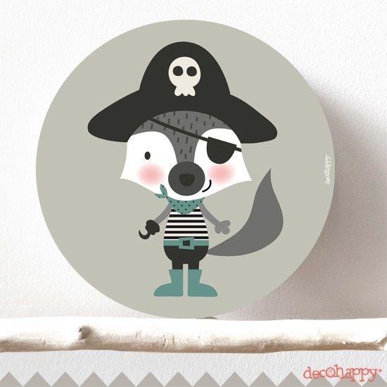 Cuadro infantil zorro pirata redondo para decorar y  combinar con los cuadros de la misma serie piratas y comprar en la tienda online de vinilos infantiles.