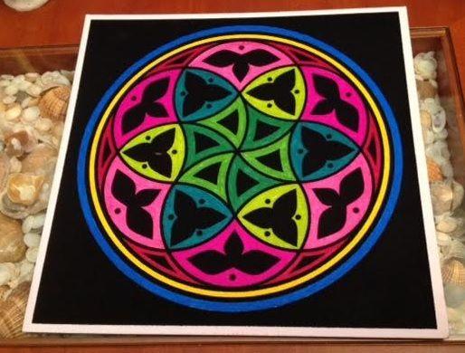 #Mandala para armonizar el equilibrio emocional pintado con #roturadores  #HOWTO #DIY #artesanía #manualidades