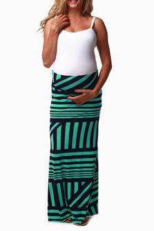 Navy Mint Geometric Print Maternity Maxi Skirt [ NineAndAHalfMonths.com ] #maternity