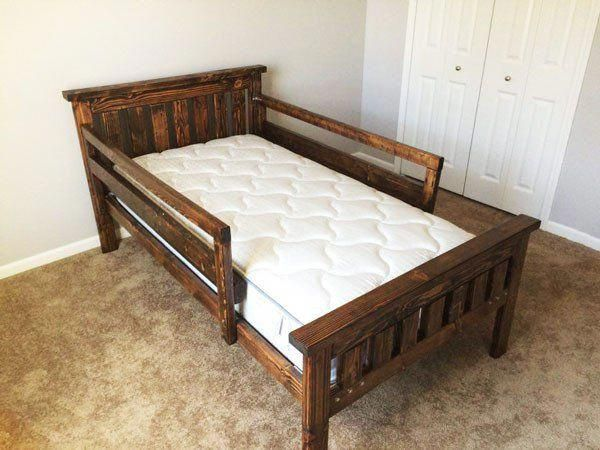Diy 2x4 Farmhouse Bed Myoutdoorplans Free Woodworking Plans And Projects Diy Shed Wooden Playhouse Pergo Diy Toddler Bed Diy Twin Bed Diy Twin Bed Frame