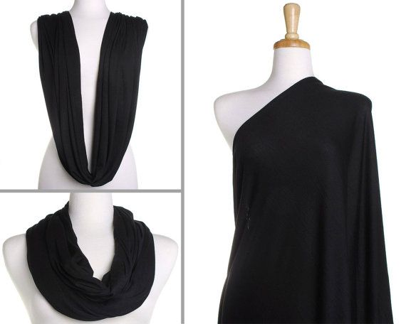 Infinity Scarf / Plain Black Nursing Cover / Gift for Her / Womens Scarves / Ladies Eternity Wrap / Breastfeeding Scarf / Mothers Day