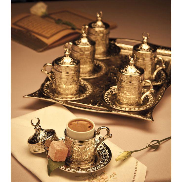 Hediyelik Gümüş Renk Dikdörtgen Tepsili Karizma Kahve Takımı