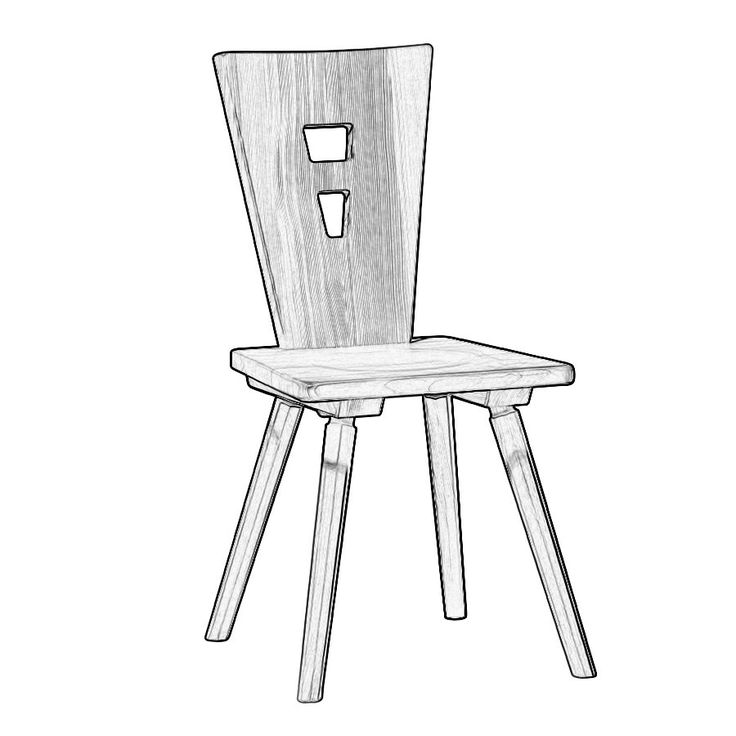 W5182. Sedia rustica in legno massello a scelta tra legni pregiati, usati fin dai tempi antichi nella falegnameria e ancora oggi per produrre mobili di qualità, quali il legno grezzo di abete, cirmolo, faggio e rovere.