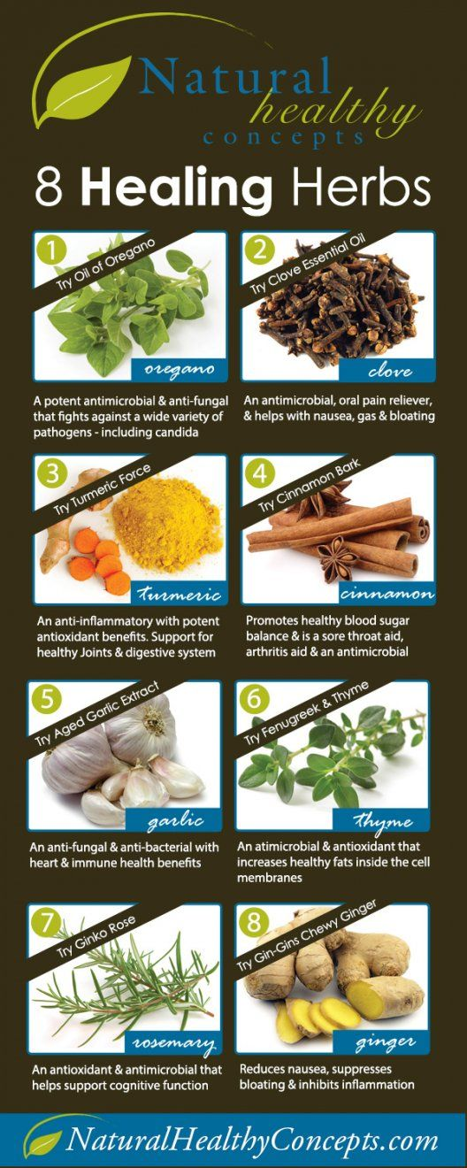 8 Healing Herbs [INFOGRAPHIC] via NaturalHealthyConcepts.com Check it out!