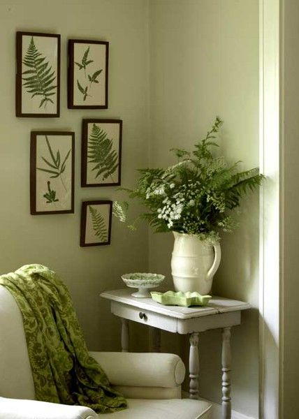 Bathroom colours? Green and White- classic color combo for use with framed vintage botanical fern illustrations.