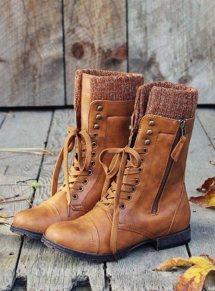 Casual Lace-Up Zipper Flat Boots