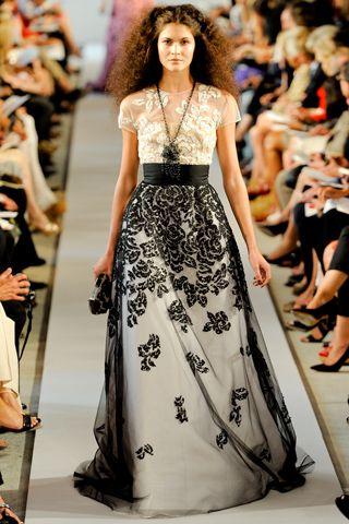 oscar de la rentaFashion Weeks, Lace Tops, Income, Spring Summer, Black White, Of The, New York Fashion, Oscars, Spring 2012