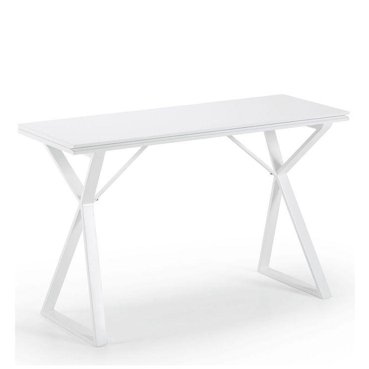 Table console extensible Drawer L130 x P45-90 plateau en Mdf laqué blanc finition mate, pieds en acier laqué blanc. 324.90€