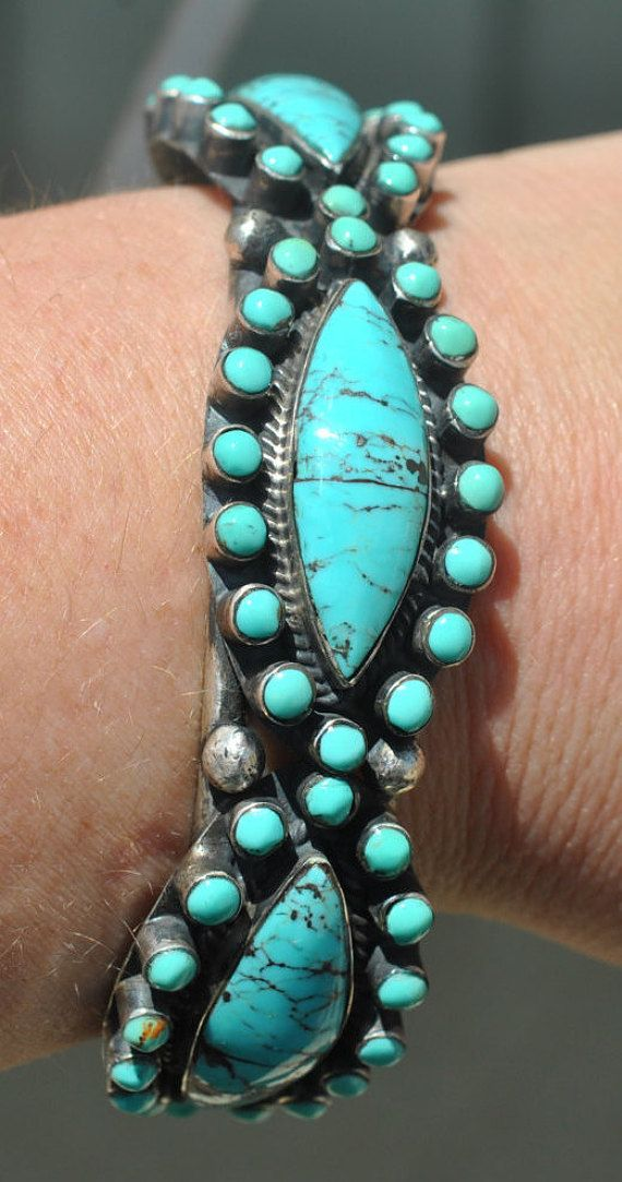 Zuni Petit Point Sterling Silver and Turquoise Cuff by Rhouse61