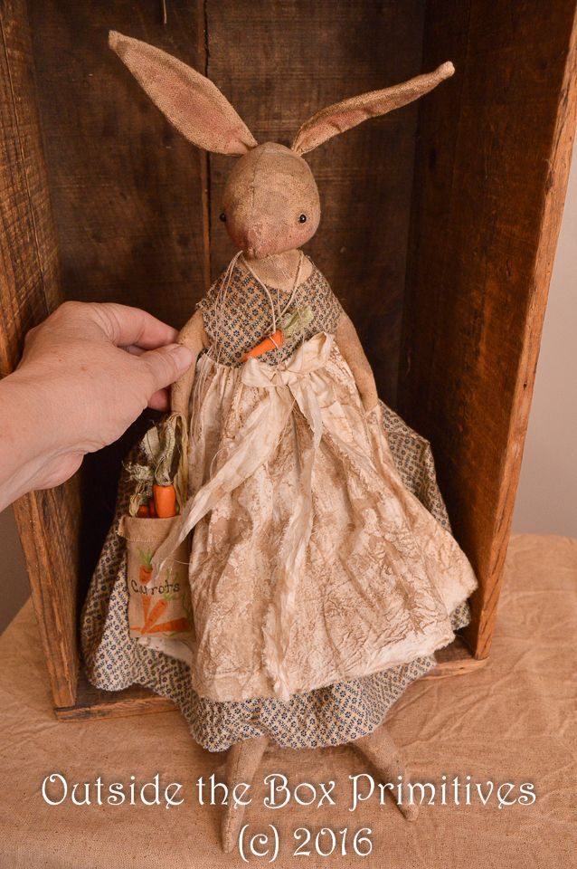 Primitive bunny rabbit DOLL  spring easter original design by Robin Seeber https://www.facebook.com/outsidetheboxprimitives/