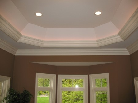 A Well Proportioned Tray Ceiling Detail With Traditional Crown Profiles And Back Lighting