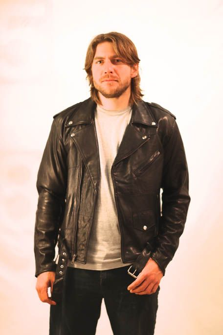 Black leather biker jacket made from recycled leather.These jackets are perfect for any vintage lover in Melbourne looking for quality vintage leather jackets, woollen jackets, Wrangler denim sheepskin lined jackets without paying a lot of money. This leather jacket will cost you only $180.00