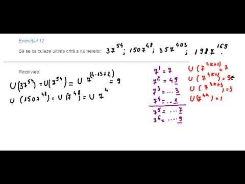 Clasa a V-a - Cap. Numere naturale - ex. 12 - ultima cifra a lui 7 la o putere - YouTube