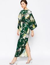 Worn Once Dark Green ASOS Curve Maxi Dress w/ 70's Style Floral Print US16