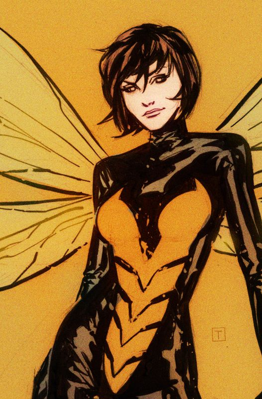 "WASP : Janet van Dyne-AKA : ""The Winsome Wasp""-(Human ""Empowered"")-----Powers : Size manipulation- Flight- Bio-electric energy blasts- Telepathic insect control---  Teems : Avengers Unity Squad- Avengers- Lady Liberators- West Coast Avengers- Mighty Avengers-Marvel Now Comics--ART by Marcio Takara"