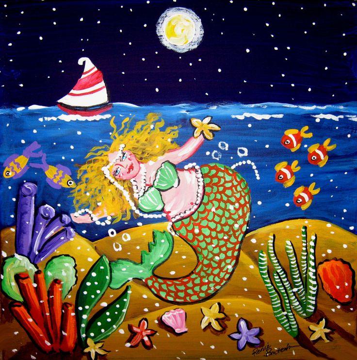 Green Mermaid Sailboat Whimsical Folk Art Giclee Print on Canvas by reniebritenbucher on Etsy https://www.etsy.com/listing/10520350/green-mermaid-sailboat-whimsical-folk