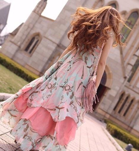 Western/BoHo Style Multi-layer Chiffon Long Dress