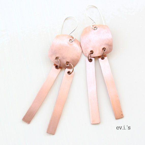 Copper Squares Stripes Sterling Ear Hooks by EVIsMetalworkJewelry, €25.00