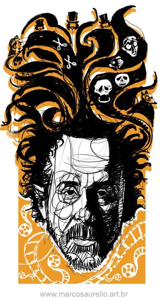 2015 - Marcos Aurelio PopArt Series: Sketching idea to produce a pop art about Tim Burton.