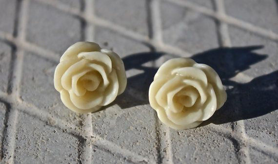 Beige Flower 12mm Stud Earrings  Casual by ForTheLoveOfColour