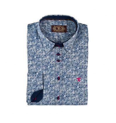 """Camisas de mujer """"Pulpa"""" Color """"azul marino con estampación Fantasía"""" en 100% algodón"""