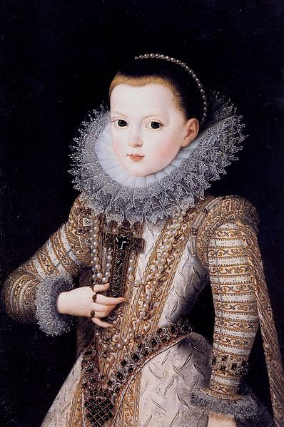 Portrait of Anne of Austria as a child (1601-1666). By Juan Pantoja de la Cruz (1553–1608).