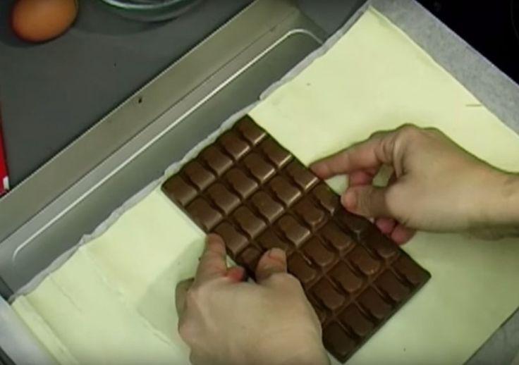 Feuilleté au chocolat.