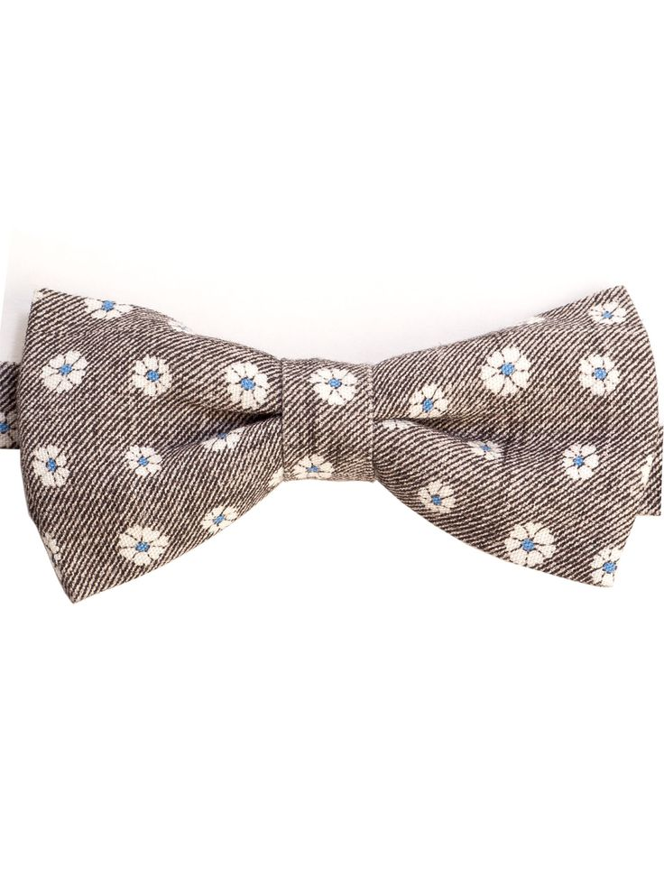 Self tie bow tie - Solid blue cotton denim weave with white stars Notch XDEL9oObVT