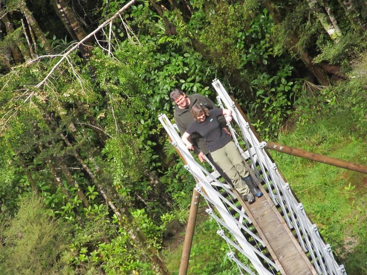 Crossing the swing bridge in Reefton Aug 2012 - note the broken leg - ain't gonna stop me!