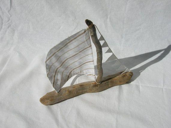 Barca a vela in legno di mare cotone decorazione nautica di H2ONDE