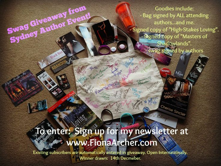 "✫ ✫ ✫ Bonanza Swag Giveaway!!! ✫ ✫ ✫ - Bag signed by: Maya Banks. Cherise Sinclair. Raine Miller. RK Lilley. Jodi Ellen Malpas. And many more.   - Plus SIGNED copies of ""High-Stakes Loving"" & ""Masters of The Shadowlands"". Sign up for my Newsletter to enter! Winner drawn 14 December, 2014"