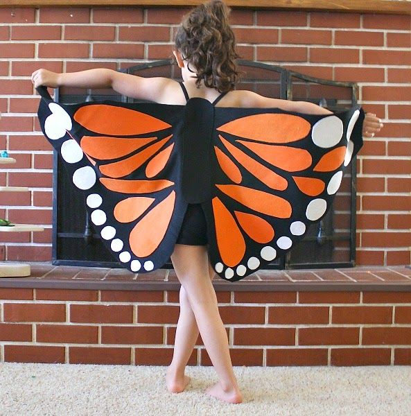 How delightful and vibrant, Great costume idea for this halloween season. Or might be just for a dress up play. Wear a black top and black leggings and wear the wings to morph into a beautiful Monarch